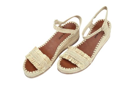 Proud Mary Footwear Raffia Wedge Fringe Sandal - Natural