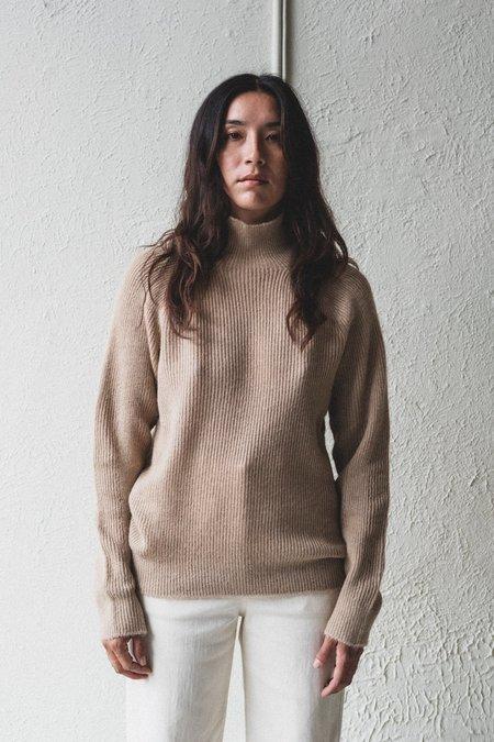 Nomat Wool Ribbed Turtleneck Sweater - Undyed White Camel