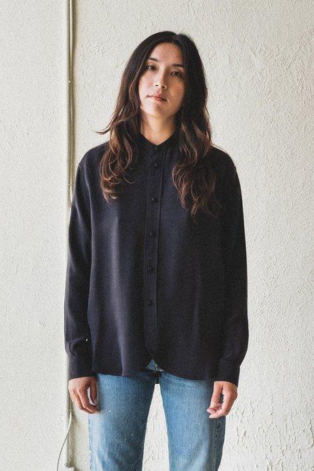 Nomat Stand Silk Collar Blouse - Black