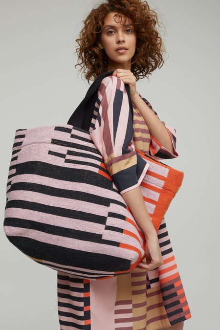 Closed Large Striped Tote