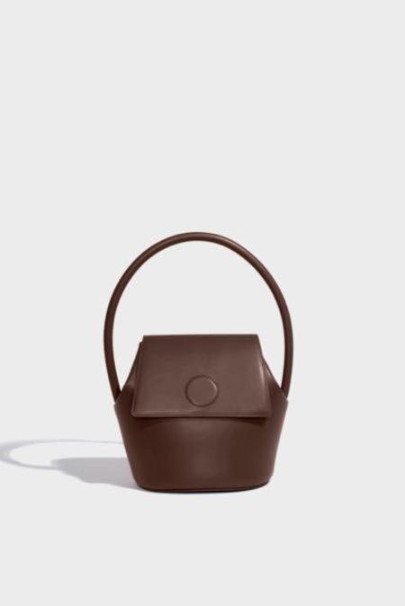 Modern Weaving Arch Top Handle Bucket bag - Praline