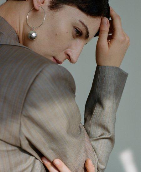 Modern Weaving Silver Sphere Hoop Earrings - Sterling Silver