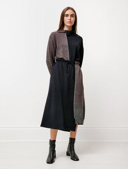 Y's by Yohji Yamamoto Collaged Knit Skirt - Navy/Glen Plaid