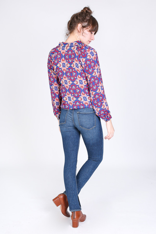 Tracy Reese Long sleeve polo blouse in monarch paisley