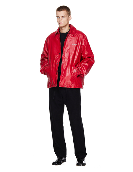 Balenciaga Leather BLNCG News 24/7 Jacket - Red