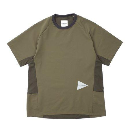 And Wander Hybrid Base Layer Short Sleeve Tee - Khaki