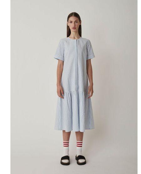 JUST FEMALE Payton Dress - Chambray Stripe