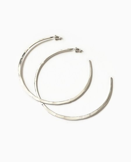 SUAI Large Hammered Hoops - Silver