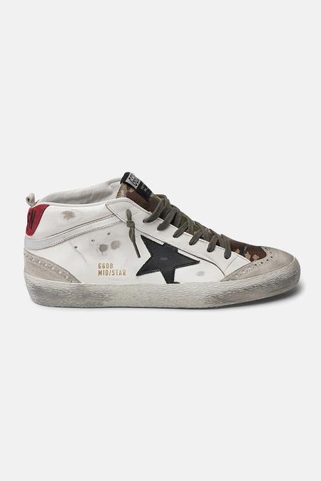 Golden Goose Mid Star Sneaker Shoes - White/Green Camo/Blk Star