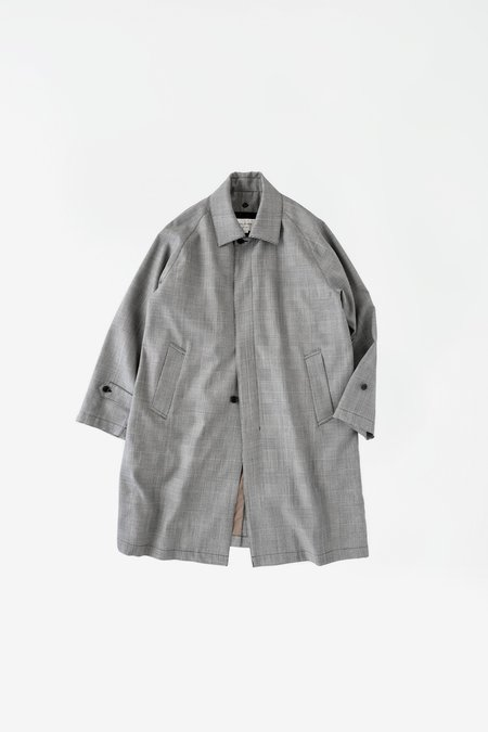 Still By Hand Original Check Bal Collar Coat - Grey Check