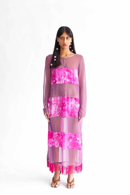 Abacaxi Silk Mixed Media Dress - Orchid