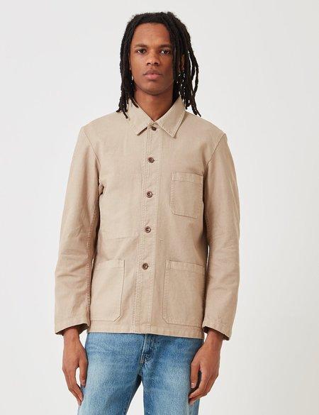 Vetra French Workwear Dungaree Wash Twill Short Jacket - Chalk Beige