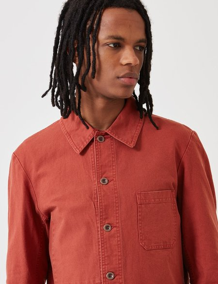 Vetra French Workwear Dungaree Wash Twill Short Jacket - Quince Red