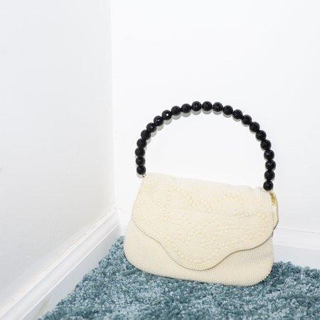 Kintsugi Beaded Bag with Black Handle - Cream