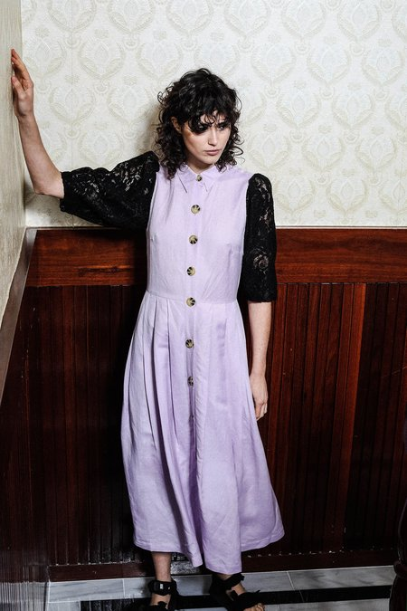 SALASAI SCARLET DRESS IN LINEN AND LACE - LILAC/BLACK