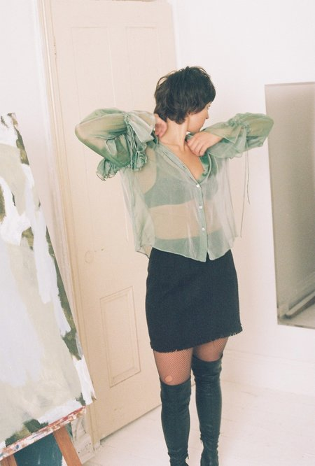 ANNIE HAMILTON Ruffle Shirt - Seafoam