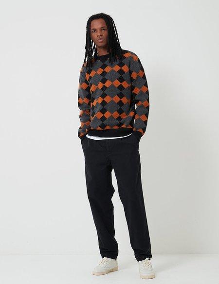 Edwin Lozenge Crew Sweater - Grey/Black/Auburn