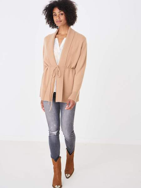 Repeat Cashmere Mid Length Belted Cardigan - Camel