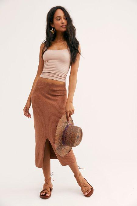 Free People Skyline Midi Skirt - Cocoa Heather