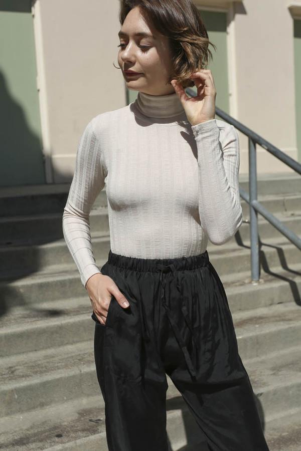 No.6 Kat Bodysuit in Beige Wide Rib Knit