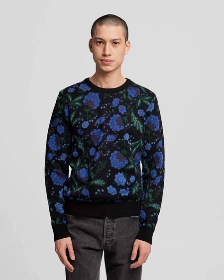 Poplin & Co. Crew Neck Jacquard Knit Sweater with Botanical Pattern - Midnight