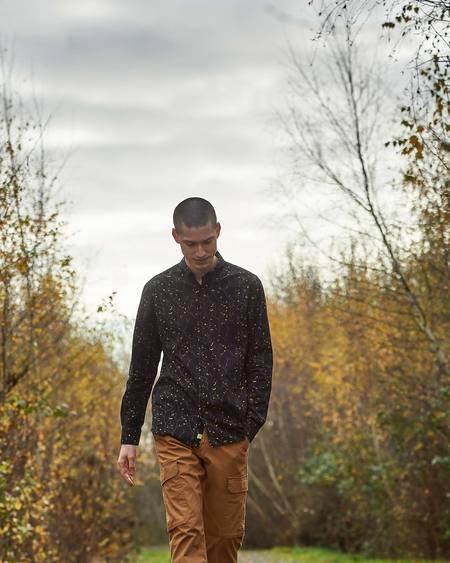 Poplin & Co Casual Button Down Long Sleeve Shirt - Floral Vine Black Print