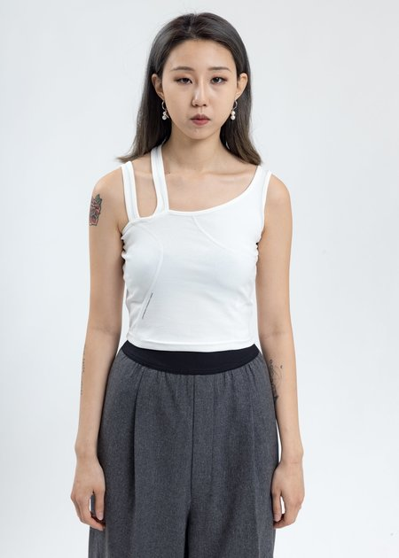 C2H4 Asymmetrical Tank Top - White