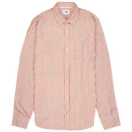 NN07 Errico Pocket Shirt - Burned Orange Stripe
