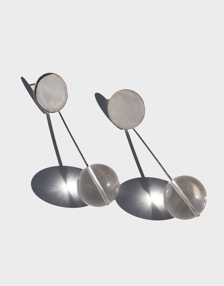 Modern Weaving Rock Crystal Sphere Earrings