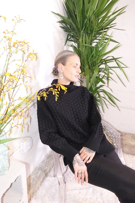 Rachel Comey Composite Pullover - Black Basketweave