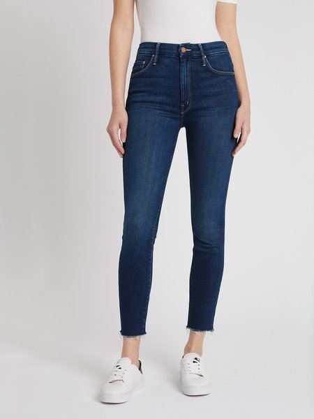 MOTHER Denim High Waisted Looker Ankle Fray Jean Jeans - Home Movies