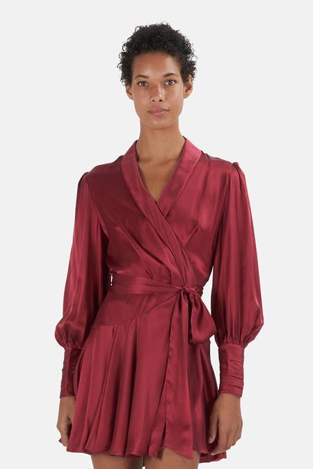 Zimmermann Silk Wrap Minidress - Burgundy
