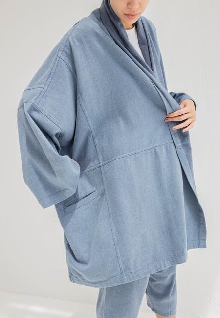 Atelier Delphine Haori Upcycled Yarn Coat - Denim Plain