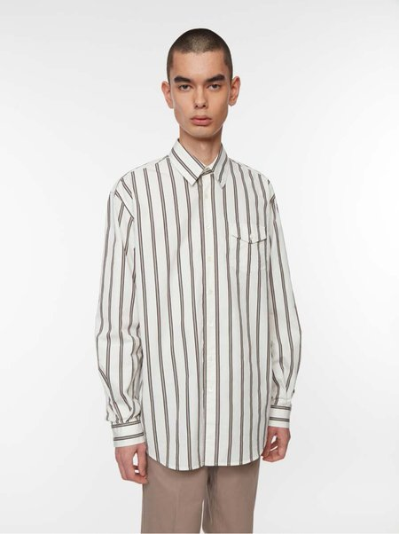 Schnayderman's Shirt in Oversized Poplin Stripe - White/Black/Khaki