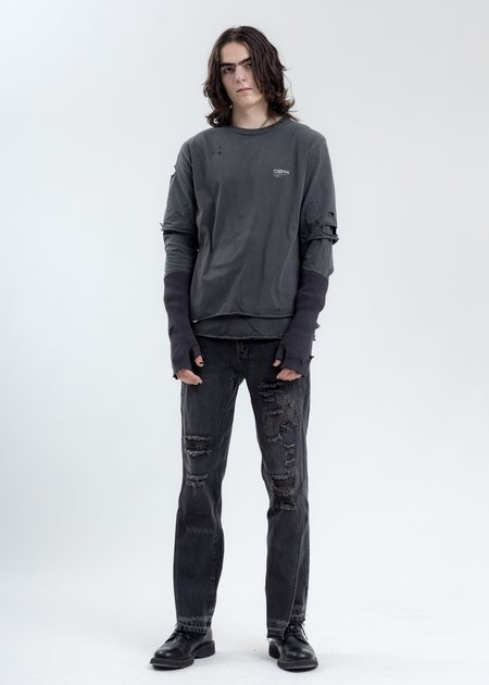 C2H4 Distressed Double Layer Logo Long Sleeves T Shirt - Grey