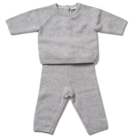 KIDS bonton baby cotton/cashmere set - heather grey