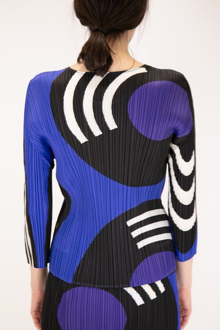 Issey Miyake Pleats Please Long Sleeve Record Top - Sapphire Blue