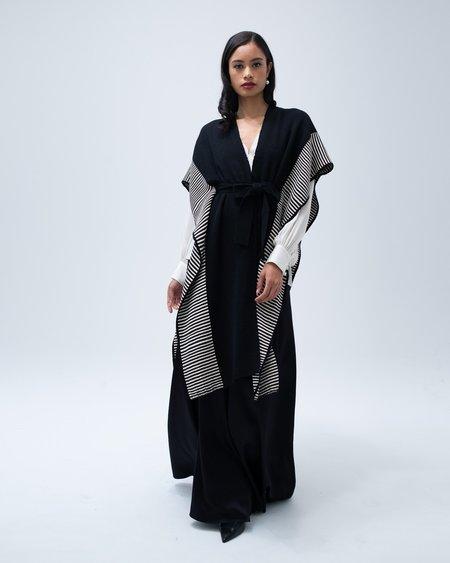 VOZ Apparel Striped Edge Caftan - Black/Cream