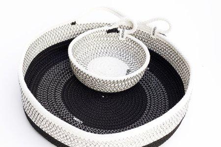 Woven Grey Large One Handled Basket - Black