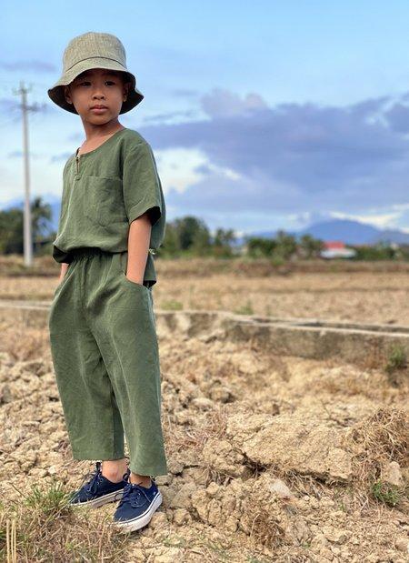 KIDS KAAREM Pocket Pant with Elastic - Forest Green