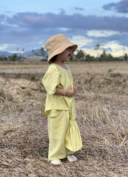KIDS KAAREM Pocket Pant with Elastic - Lemon