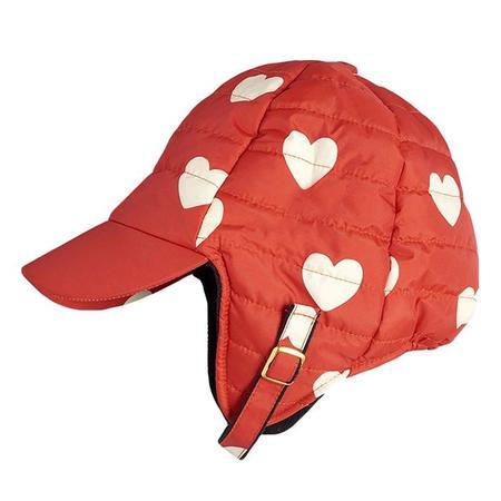 KIDS Mini Rodini Baby And Child Insulator All Over Hearts Print Hat - Red