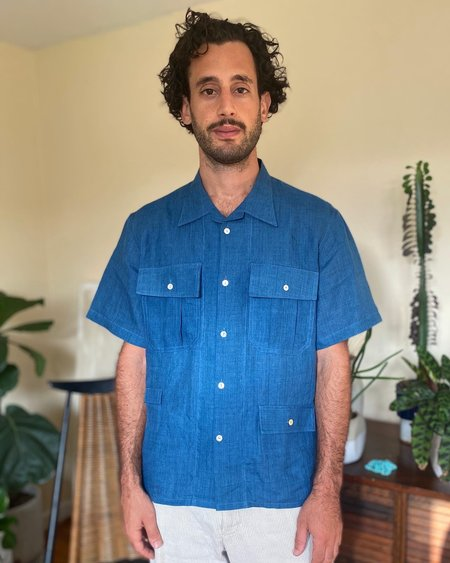 Tony Shirtmakers Fermented Linen Fly Fish Camp Shirt - Indigo