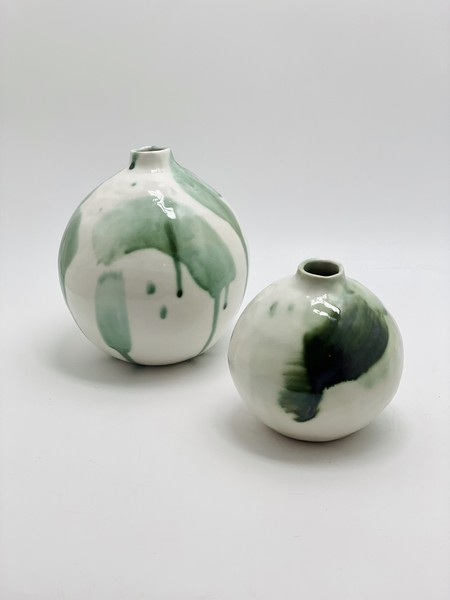 A.Cheng Small Copper Oxide Porcelain Vase - Green