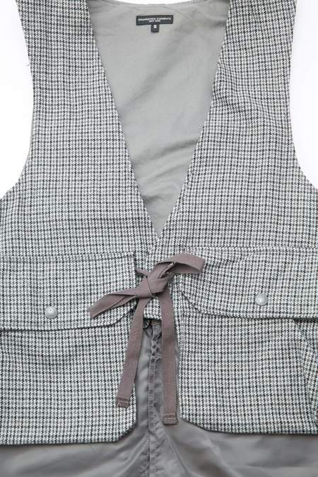 Engineered Garments Long Fowl Vest Wool Poly Gunclub Check - Grey