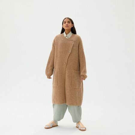 Monica Cordera Chunky Soft Wool Knit Coat - Camel