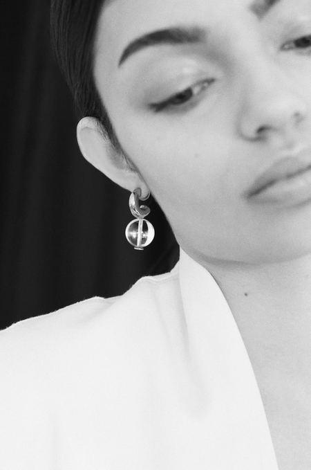 Modern Weaving Petite C- Curve Hoop Earrings - Crystal Quartz