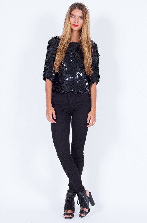 BLACK SEQUIN DISC TOP (SMALL-MEDIUM)
