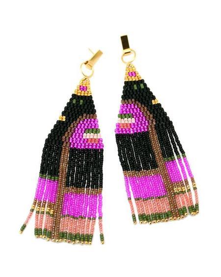 Bluma Project Hilma Earrings in Ink - Gold Plated Brass / Glass Beads