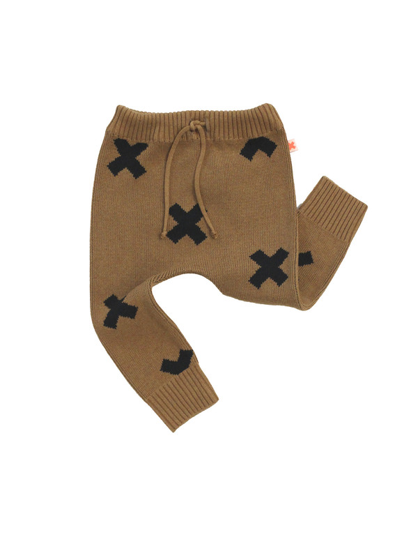 Kid's Tiny Cottons KNIT LOGO PANT - BROWN